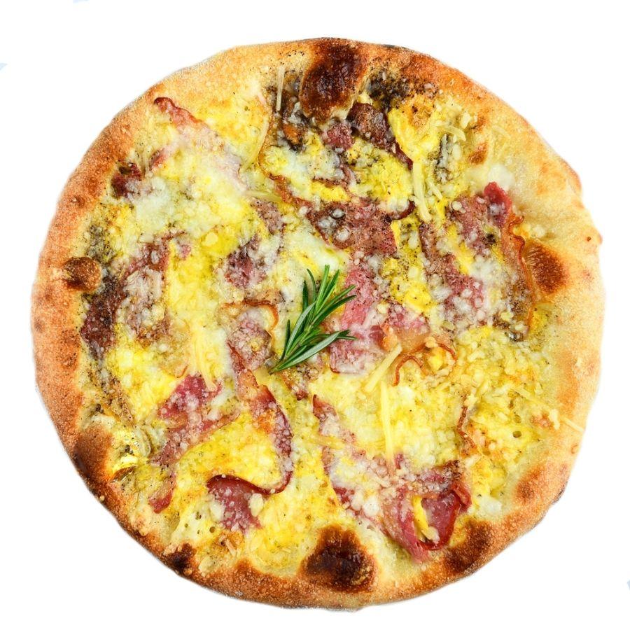 PIZZA CARBONARA, ou, mozzarella, pancetta, parmezan, piper negru