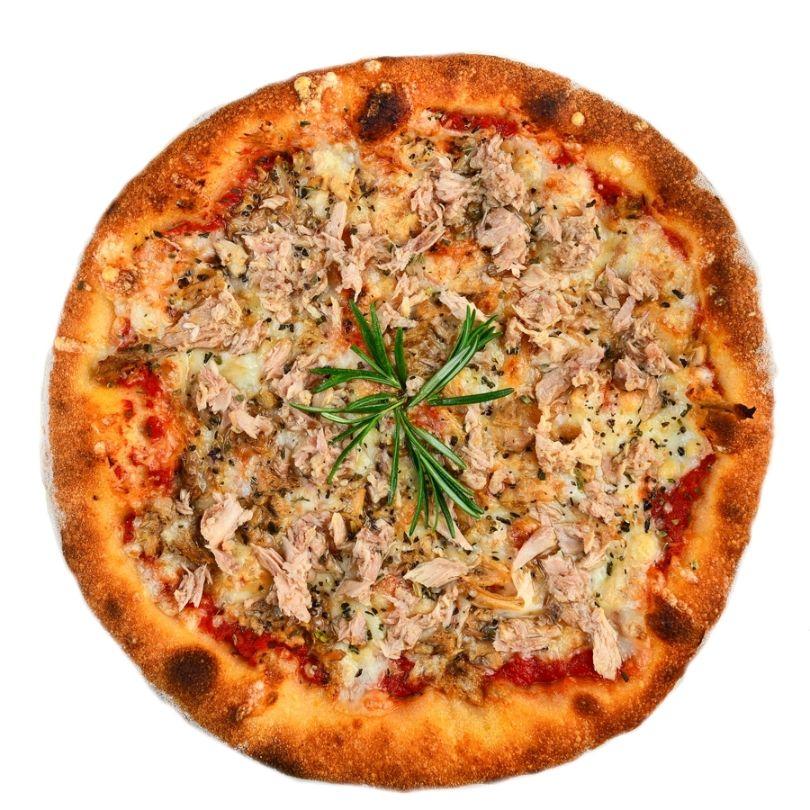 PIZZA TONNO E CIPOLLA, Sos de rosii, mozzarella, ton, ulei de masline, ceapa (la alegere fara ceapa)