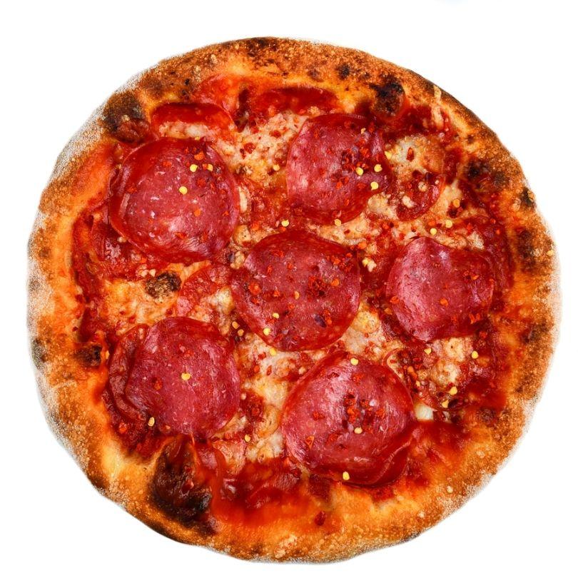 PIZZA DIAVOLA, sos de rosii, mozzarella, salam picant, ulei de masline