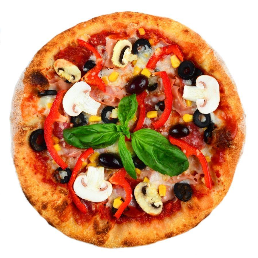 PIZZA MIXT, sos de rosii, mozarella, salam, ciuperci, masline, ardei gras, porumb, ulei de masline