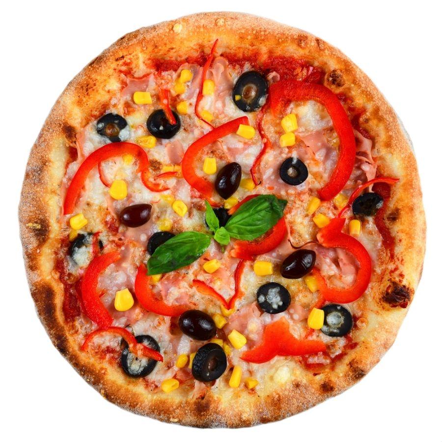PIZZA QUATTRO STAGIONI, sos de rosii, mozzarella, sunca, ciuperci, masline, ardei gras, ulei de masline, porumb