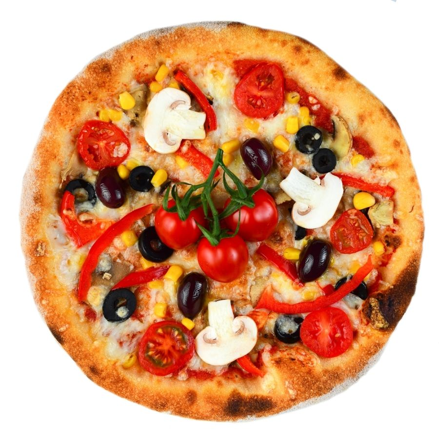 PIZZA VEGETARIANA, sos de rosii, mozzarella, ciuperci, masline, ardei gras, porumb, ulei de masline
