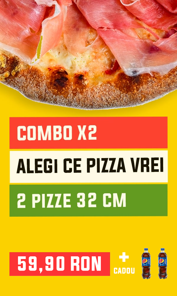 Comandă meniul pizza combo cu 2 pizza delicioase cu livrare la domiciliu în Brasov | pizzapazza.ro